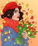 schönes Mädchen mit Blumensträußen von Tulpen in den Händen Stockfotos