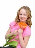 Schönes Mädchen mit Blumentulpe Lächeln Set von 9 Abbildungen der wundervollen mehrfarbigen Tulpen Lizenzfreie Stockfotografie