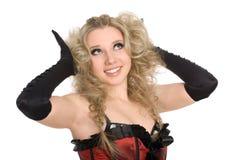 Schönes Mädchen mit dem blonden gelockten Haar Lizenzfreie Stockfotografie