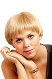 Schönes Mädchen mit dem blonden Haar und guter Haut Stockbild
