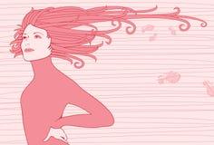 Schönes Mädchen mit dem flüssigen Haar Stock Abbildung