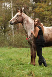 Schönes Mädchen mit dem hübschen Kleid, das nahe bei nettem Pferd steht Stockfotos
