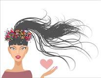 Schönes Mädchen mit dem langen Haar vektor abbildung