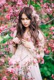 Schönes Mädchen mit dem langen Haar, Dekoration im beige Boudoirspitzekleid nahe rosa Kirschblüte, unten schauend, Nahaufnahme stockfotografie