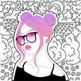 Schönes Mädchen mit dem rosafarbenen Haar Stockfotos