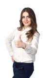 Schönes Mädchen mit den Daumen oben Lizenzfreie Stockfotografie