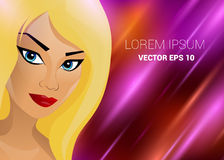 Schönes Mädchen mit der Zaubermode des blonden Haares realistisch volle Lichtstrahlen Hintergrund strahlt farbenreiche Helligkeit vektor abbildung