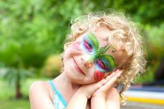 Schönes Mädchen mit einem Karosserienanstrich Lizenzfreies Stockbild