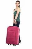 Schönes Mädchen mit einem Reisenbeutel Lizenzfreie Stockbilder