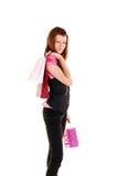 Schönes Mädchen mit Einkaufstasche. lizenzfreies stockfoto
