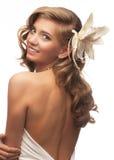 Schönes Mädchen mit Frisur und Verfassung Stockbilder
