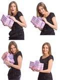 Schönes Mädchen mit Geschenkkasten Stockfoto