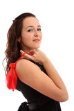 Schönes Mädchen mit Geschenktasche Stockfotos