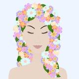 Schönes Mädchen mit geschlossenen Augen und dem Blumenhaar lizenzfreie abbildung