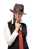 Schönes Mädchen mit Gewehr Lizenzfreies Stockbild