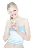Schönes Mädchen mit Glas Wasser über Weiß Lizenzfreies Stockbild