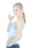 Schönes Mädchen mit Glas Wasser über Weiß Lizenzfreie Stockfotos
