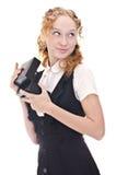 Schönes Mädchen mit Kasten Stockfoto