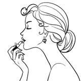 Schönes Mädchen mit Lippenstift Stockbild