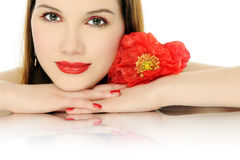 Schönes Mädchen mit Mohnblume Stockfotos