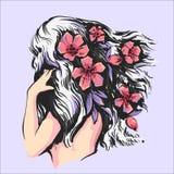 Schönes Mädchen mit rosa Blumen in der Rückseiteansichtvektorillustration des Haares vektor abbildung