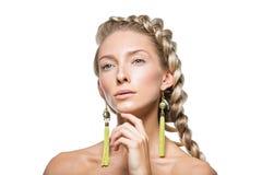Schönes Mädchen mit starker französischer Borte Stockbilder