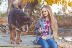 Schönes Mädchen mit tibetanischem Mastiff auf der Natur Stockbild