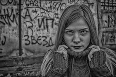 Schönes Mädchen Schwarzweiss in HDR Lizenzfreies Stockfoto