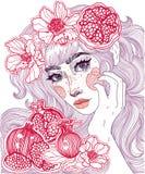 Schönes Mädchen und roter Granat lizenzfreie abbildung
