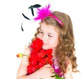 Schönes Mädchen und Tulpen Lizenzfreie Stockbilder
