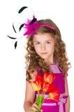 Schönes Mädchen und Tulpen Stockbild
