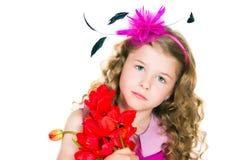 Schönes Mädchen und Tulpen Lizenzfreie Stockfotos