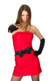 Schönes Mädchen in wenigem rotem Kleid lizenzfreies stockfoto