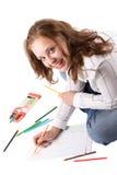 Schönes Mädchen zeichnet mit Zeichenstiften. #3 Stockfotografie