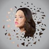 Schönes Mädchengesicht von Dreiecken stockfotografie