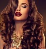 Schönes Mädchenmodell mit dem langen braunen Kraushaar stockbild