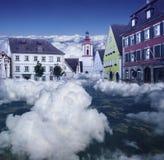 Schönes Märchenland im Himmel im blauem Tonen lizenzfreies stockbild