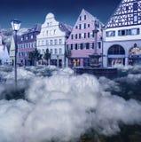 Schönes Märchenland im Himmel im blauem Tonen lizenzfreie stockfotografie