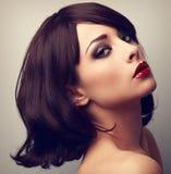 Schönes Make-upprofil der Frau des schwarzen Haares Nahaufnahmeweinlese PO Lizenzfreie Stockfotos