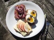Schönes Mittagessen im Sonne Dänische-offenen Sandwich stockfotografie
