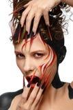 Schönes Modefrauen-Farbgesicht Stockbilder