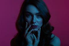 Schönes Modell, das sinnlich auf Rosa aufwirft Lizenzfreie Stockfotografie