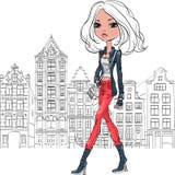 Schönes Modemädchen des Vektors in Amsterdam vektor abbildung