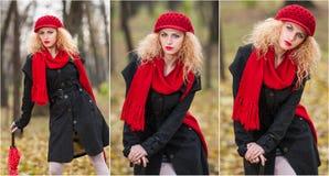 Schönes modernes junges Mädchen mit rotem Regenschirm, roter Kappe und rotem Schal im Park Lizenzfreie Stockfotos