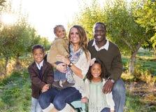Schönes multi ethnisches Familien-Porträt draußen Stockfotos