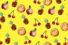 Schönes Muster mit Hand gezeichneten Elementen - nette Ananas, AP Stockfotos