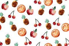 Schönes Muster mit Hand gezeichneten Elementen - nette Ananas, AP Lizenzfreies Stockbild