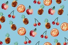 Schönes Muster mit Hand gezeichneten Elementen - nette Frucht schneidet w Lizenzfreies Stockfoto