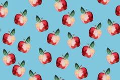 Schönes Muster mit Hand gezeichneten Elementen - nettes Äpfel waterco Stockfotografie