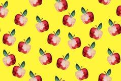 Schönes Muster mit Hand gezeichneten Elementen - nettes Äpfel waterco Stockfoto
